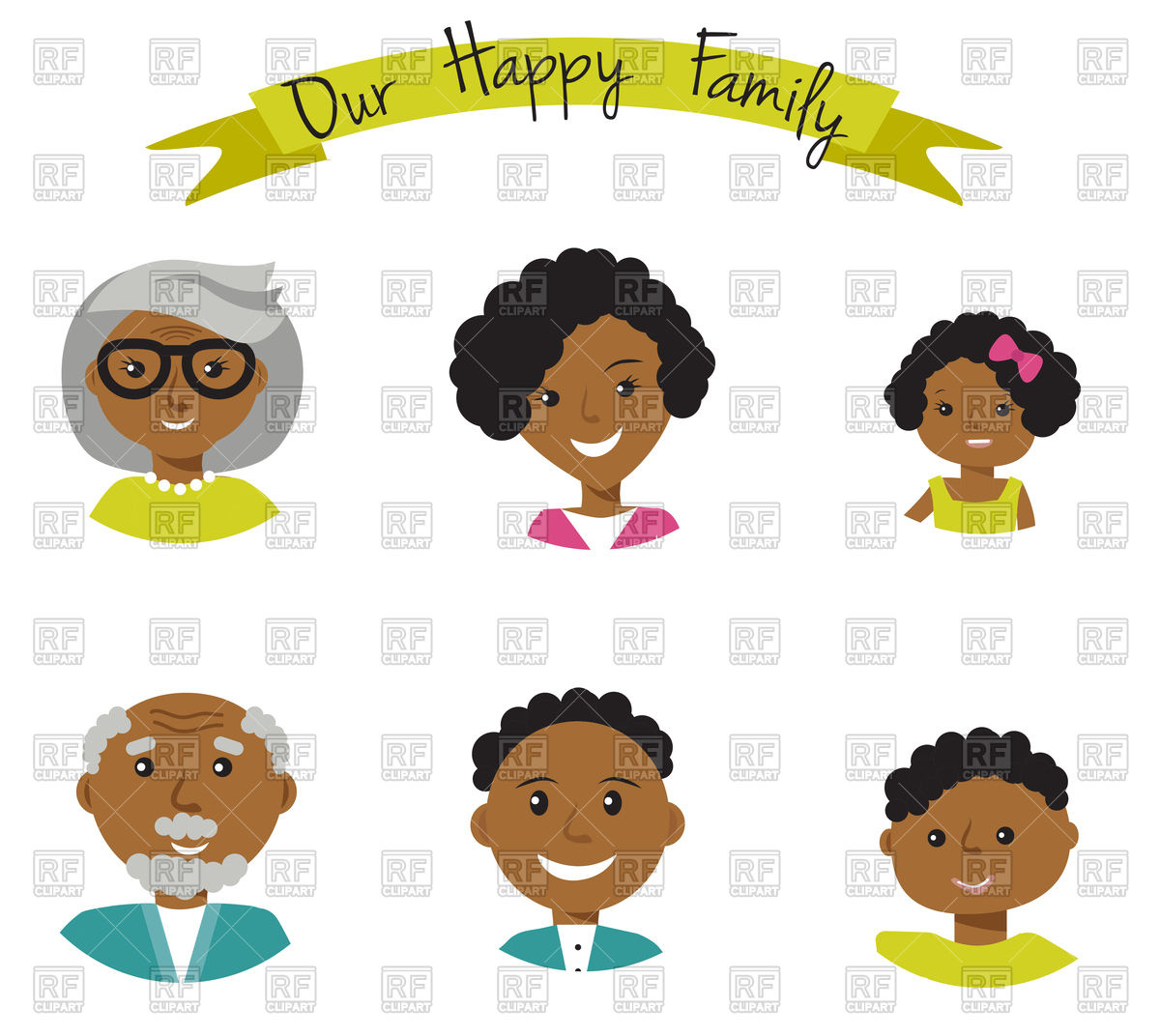 Happy African American family faces Stock Vector Image.