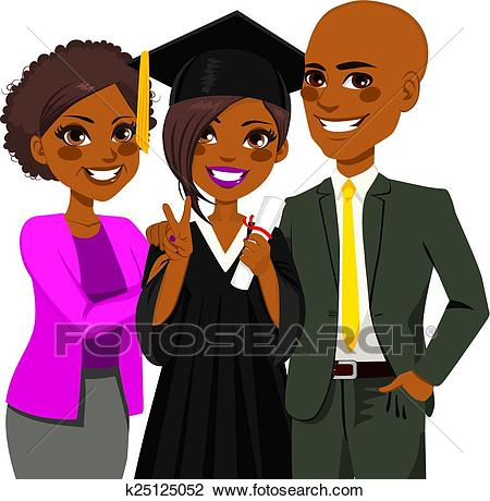 African American Family Graduation Day Clipart.