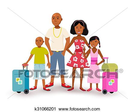 African american family summer vacation travel Clipart.