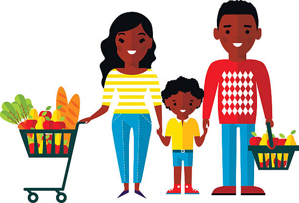 African American Family Shopping Illustrations, Royalty.