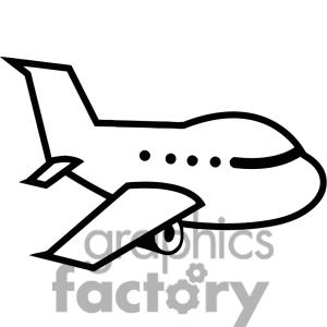 Black And White Airplane With Banner Clipart #155.