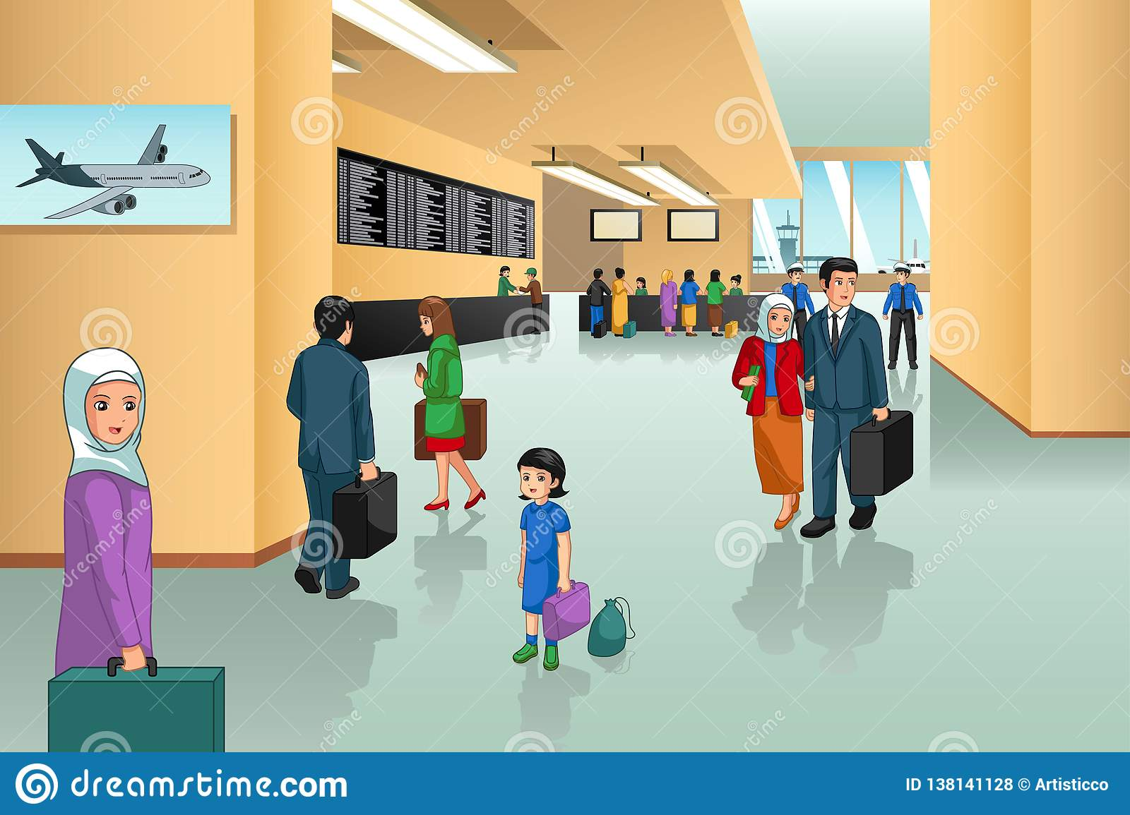 Inside Airport Scene Illustration Stock Vector.
