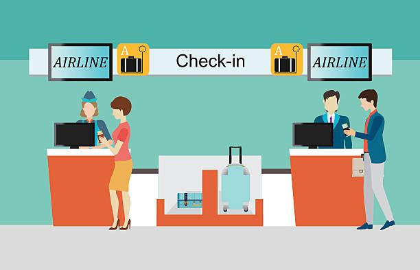Royalty Free Airport Check In Counter Clip Art, Vector Images.