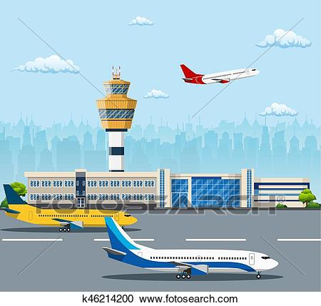 Airport building and airplanes Clipart.