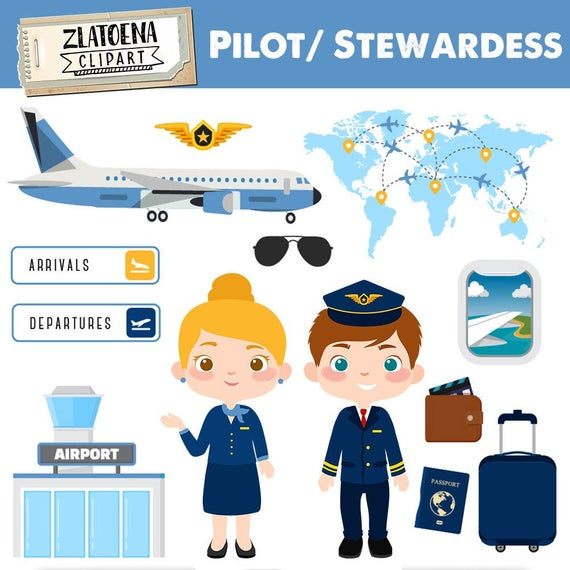 Pilot Clipart Airport Clip Art Airplane Digital Graphics Stewardess clipart  graphics Aircraft Travel Flying Professions clipart.
