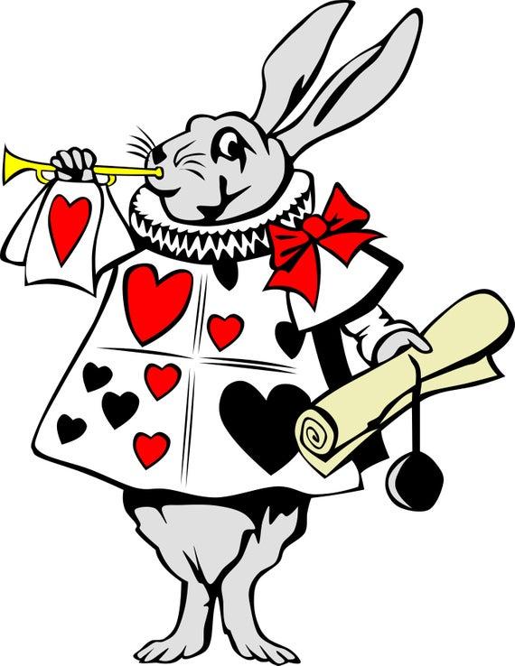 Vintage Alice in Wonderland Rabbit Clipart in SVG, EPS, PNG.