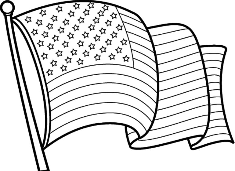 clipart of american flag in black and white Clipground