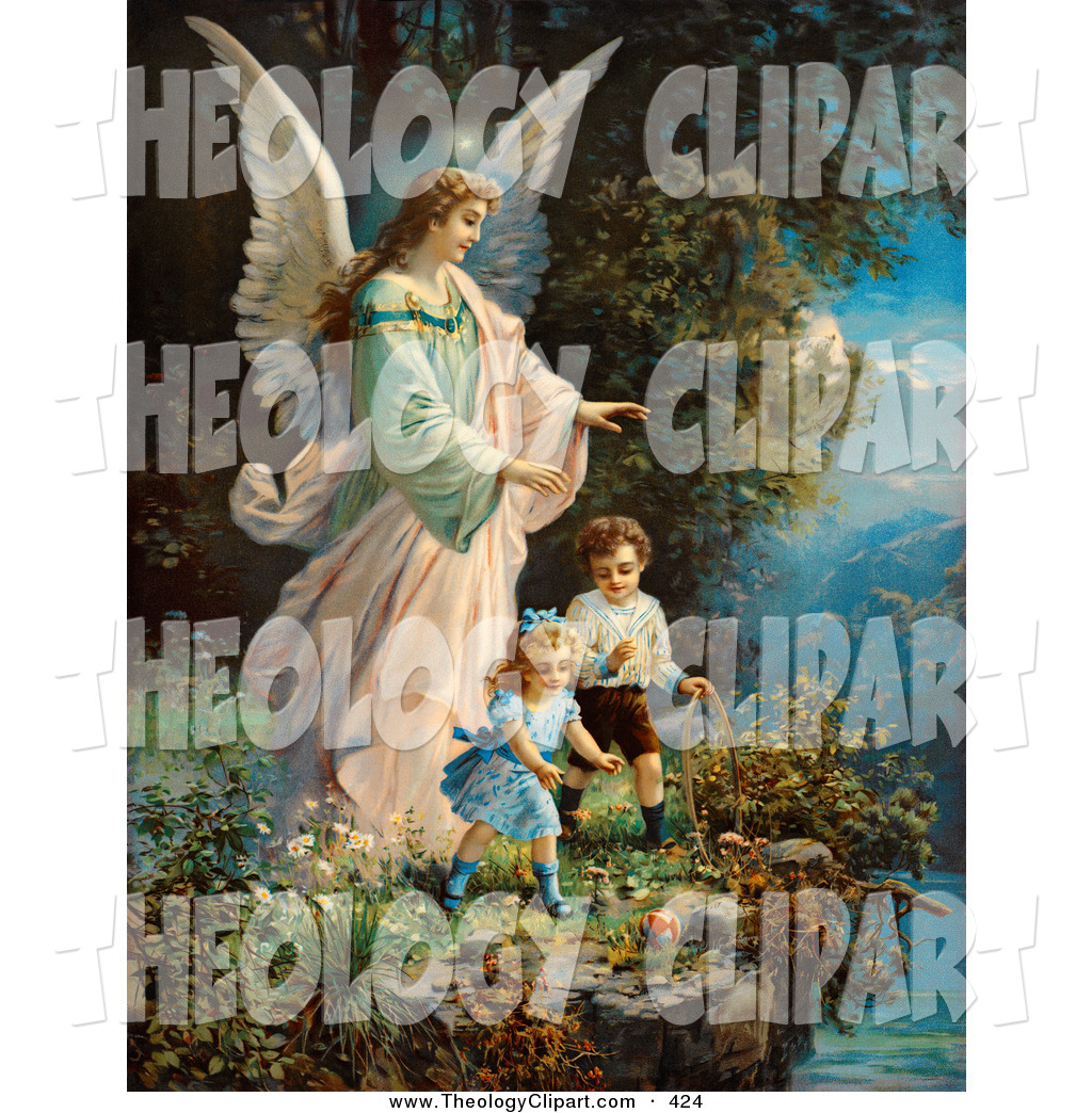 Clipart Of An Guardian Angel Mother And Her Children.