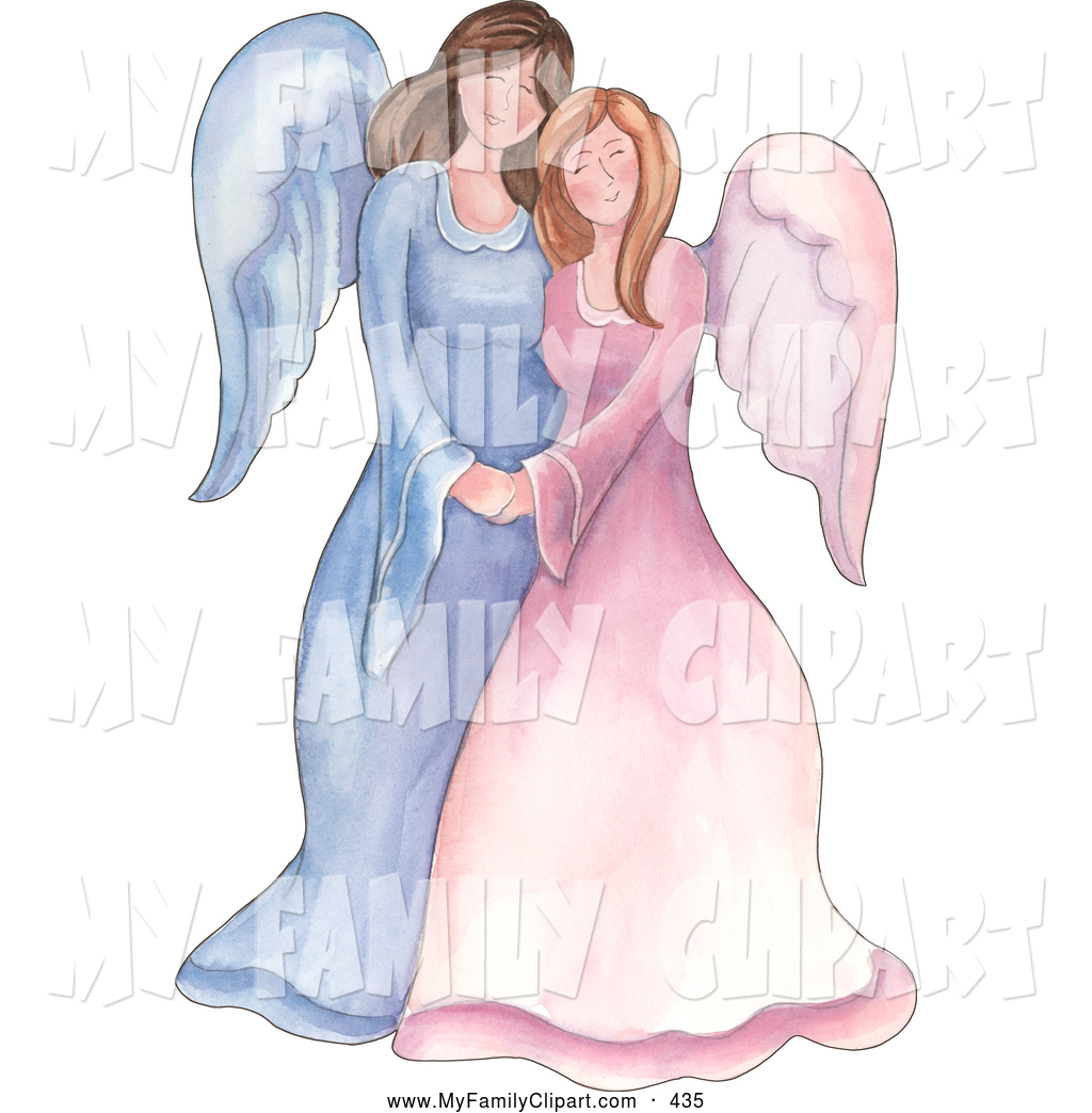 Clipart of an angel mother and her children.
