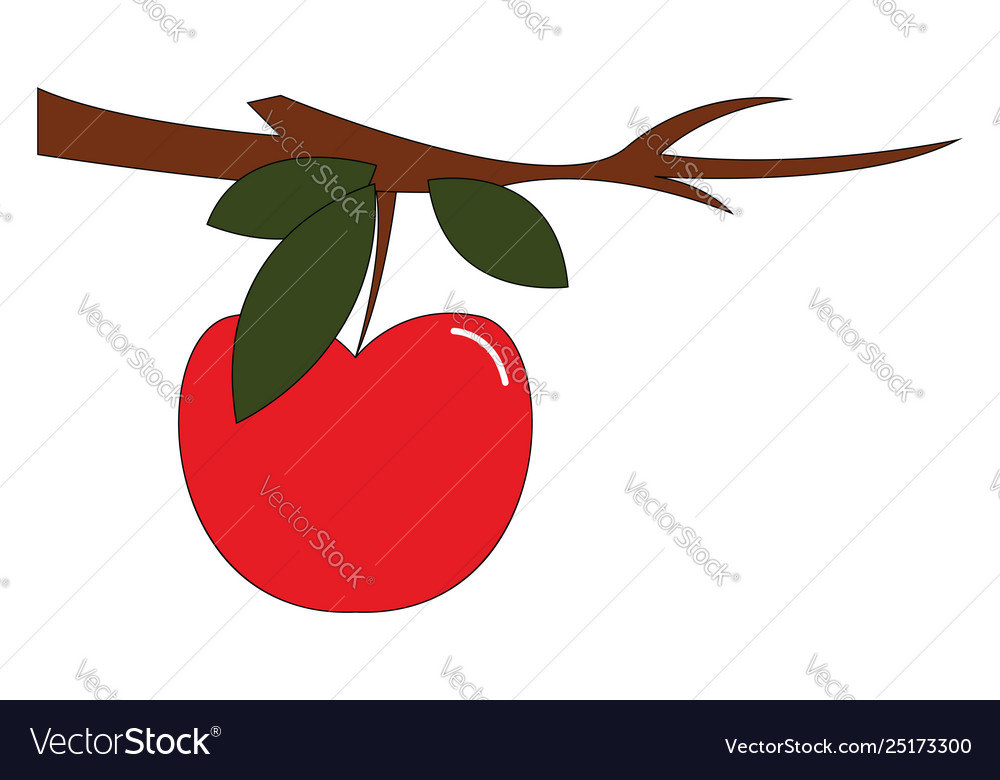 Clipart an apple fruit hanging from branch.