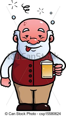 Vector Illustration of Old man being drunk.