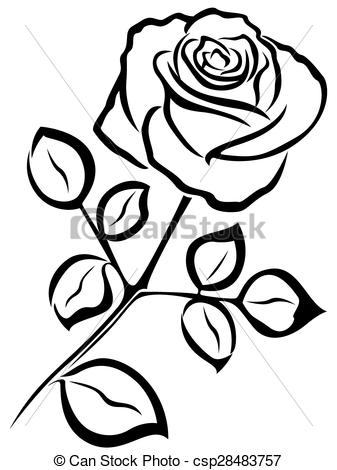 clipart of an outline of a rose - Clipground
