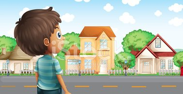 Young Boy Standing Across The Village stock vectors.
