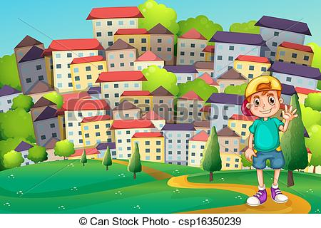 Vectors of A young boy standing at the hilltop across the village.