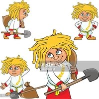 Cartoon Character Village Boy With A Shovel and A Bag stock.