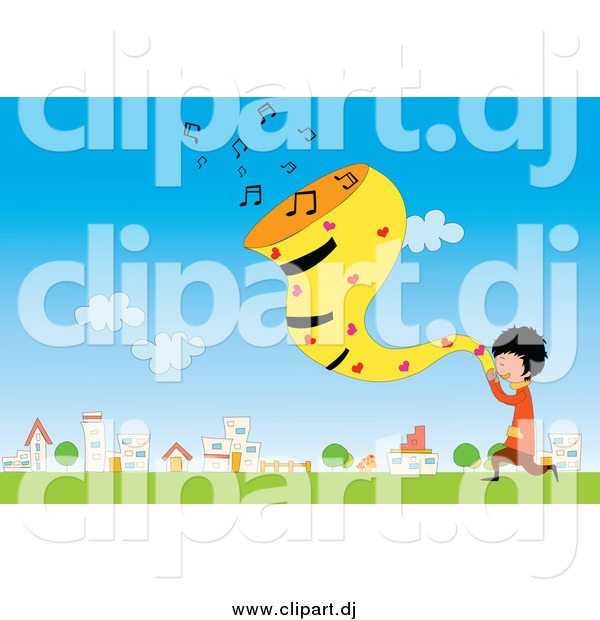 Vector Clipart of a Boy Singing in a Field by a Village by.