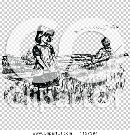 Clipart of a Retro Vintage Black and White Boy and Girl near a.