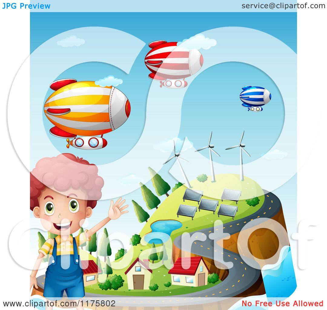 Cartoon of a Boy Waving over an Energy Efficient Coastal Village.