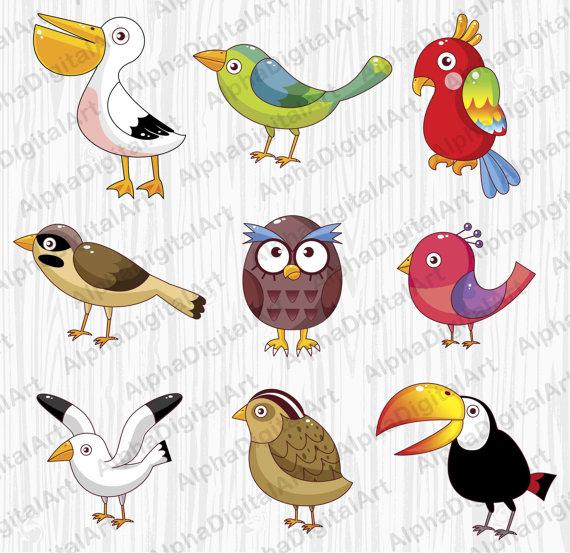 9 Cartoon Birds Clip, Owl clipart, Parrot clipart, Animals.