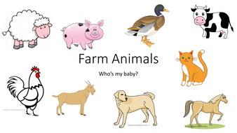 On the Farm resources for teaching about farm animals, their young and the  sounds they make.