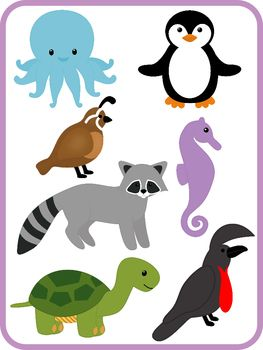 Clip Art Alphabet Animals Color and B, 52 images, one animal.
