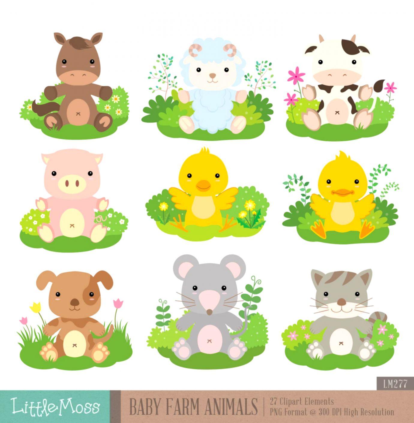 Baby Farm Animal Clipart.