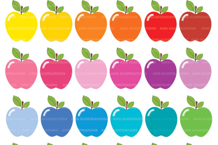Apple Clipart, Bright Colors AMB.