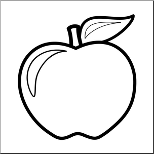 Clip Art: Colors: Apple: White B&W I abcteach.com.