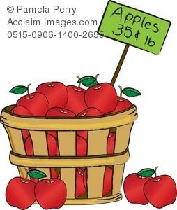 Clip Art Illustration of a Basket of Apples.