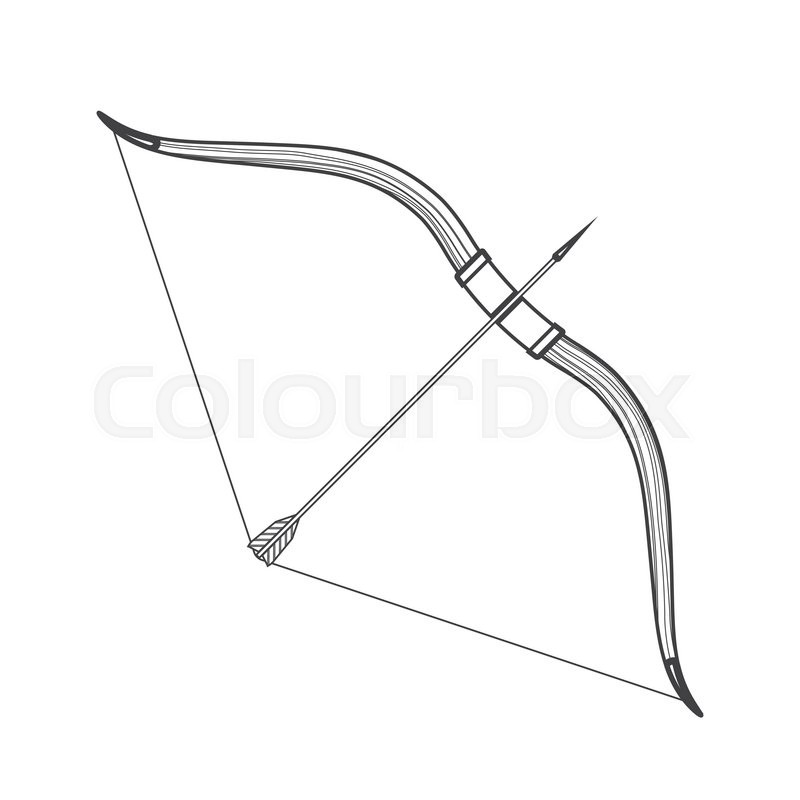 Vector monochrome contour medieval wooden bow with arrow isolated.