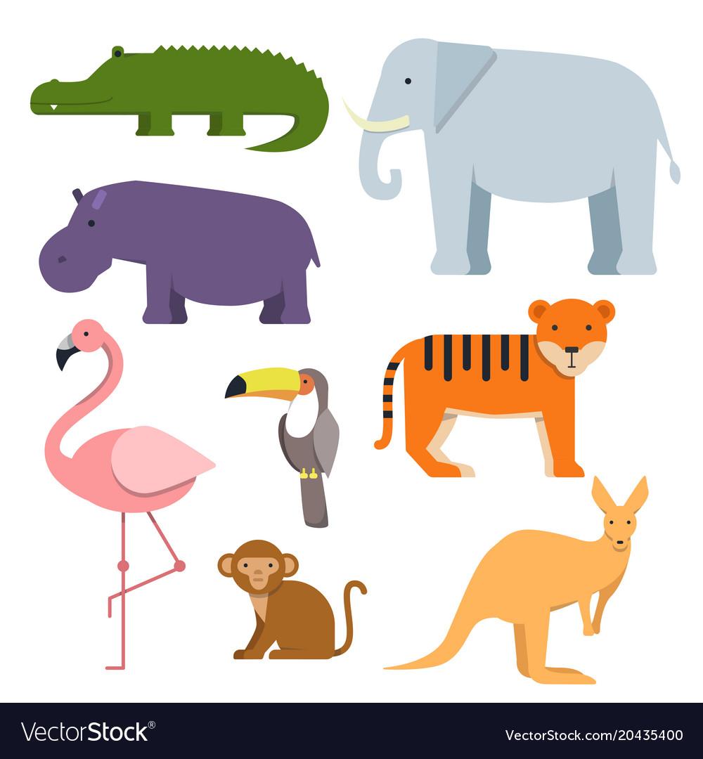 Cartoon clipart of wild animals australian fauna.