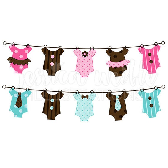 String of Baby Clothes Cute Digital Clipart, Baby Clothesline Clip.