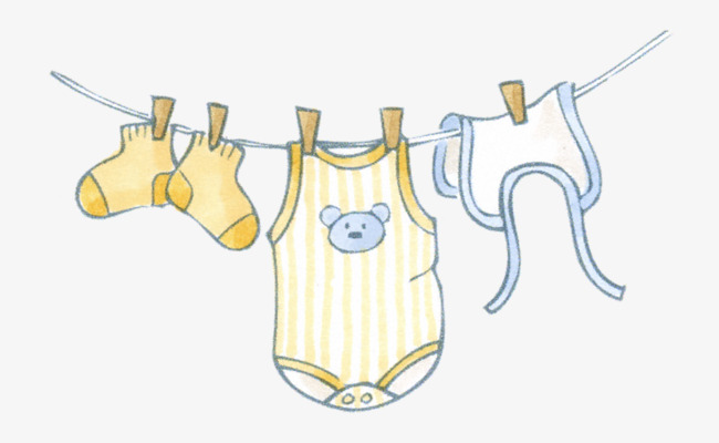 Hanging Baby Clothes, Baby Clipart, Clothes Clipart, Dry PNG.