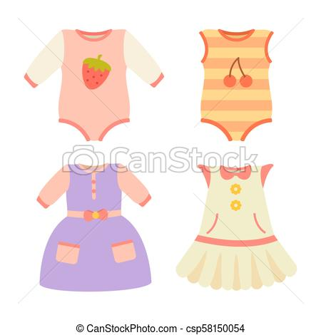 Baby Clothes Collection Dress Vector Illustration.