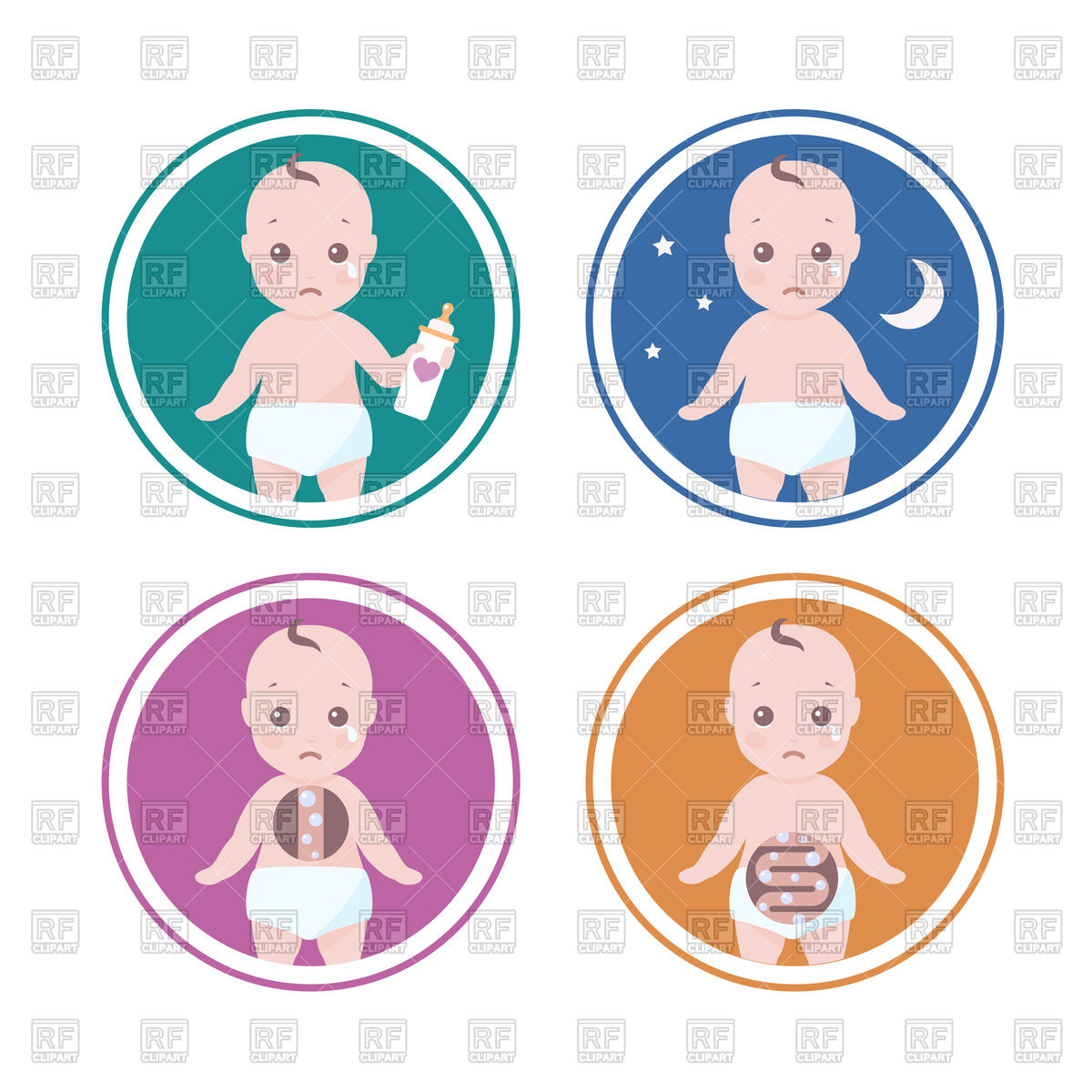 Reasons why baby cry Stock Vector Image.