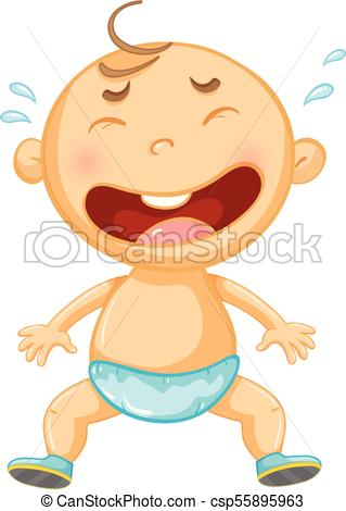 Little baby crying on white background.