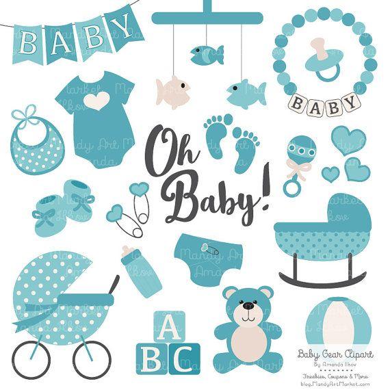 Premium Oh Baby Clipart & Vectors Set in Vintage Blue.