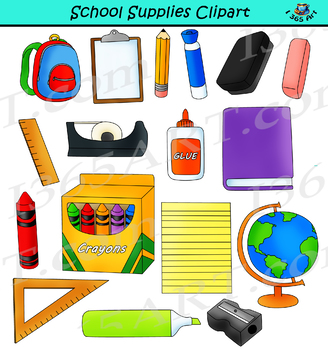 School Supplies Clipart Back to School Graphics.
