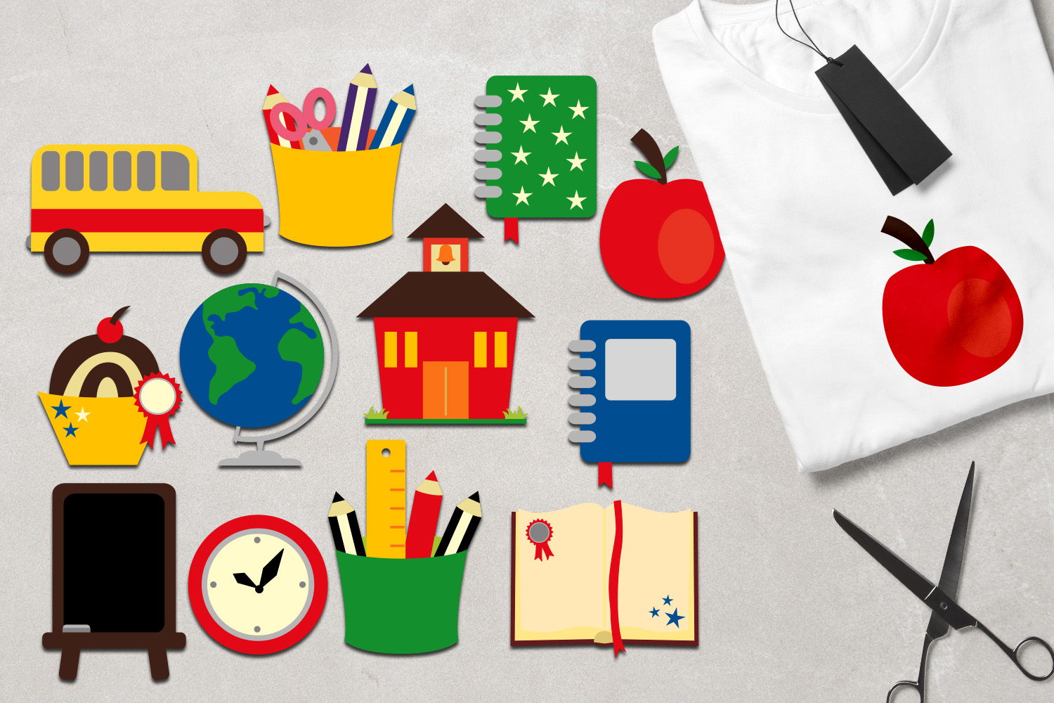 Back to school clipart graphic illustration, school supplies.