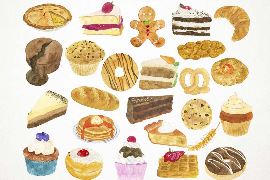 Watercolor Bakery Clipart, Bakery Clip Art, Bakery PNG.