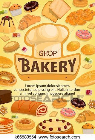 Bakery shop cakes, patisserie pastry desserts menu Clipart.