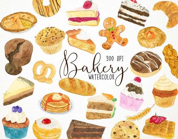 bakery clipart, bakery watercolour clipart, cupcake watercolor, watercolor  cake, baking clip art, baking clipart, bakery clip art, cake.
