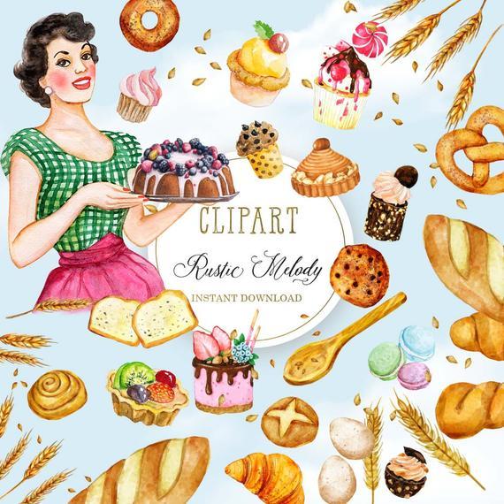 Kitchen Clipart, Bakery Clip Art ,Cooking ,Graphics ,Baking ,Utensils,  Retro ,Restaurant, Illustration, Chocolate, Macaroons,Cakes,Bread.