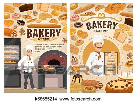 Bakery shop cakes, baker patisserie pastry menu Clipart.