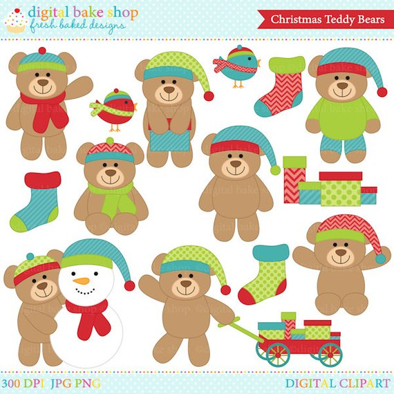 christmas bears clipart clip art digital.