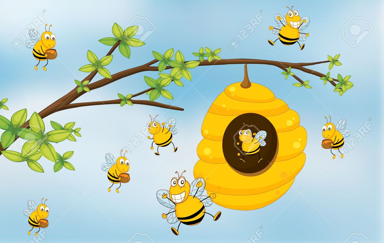 beehive from tree clipart.