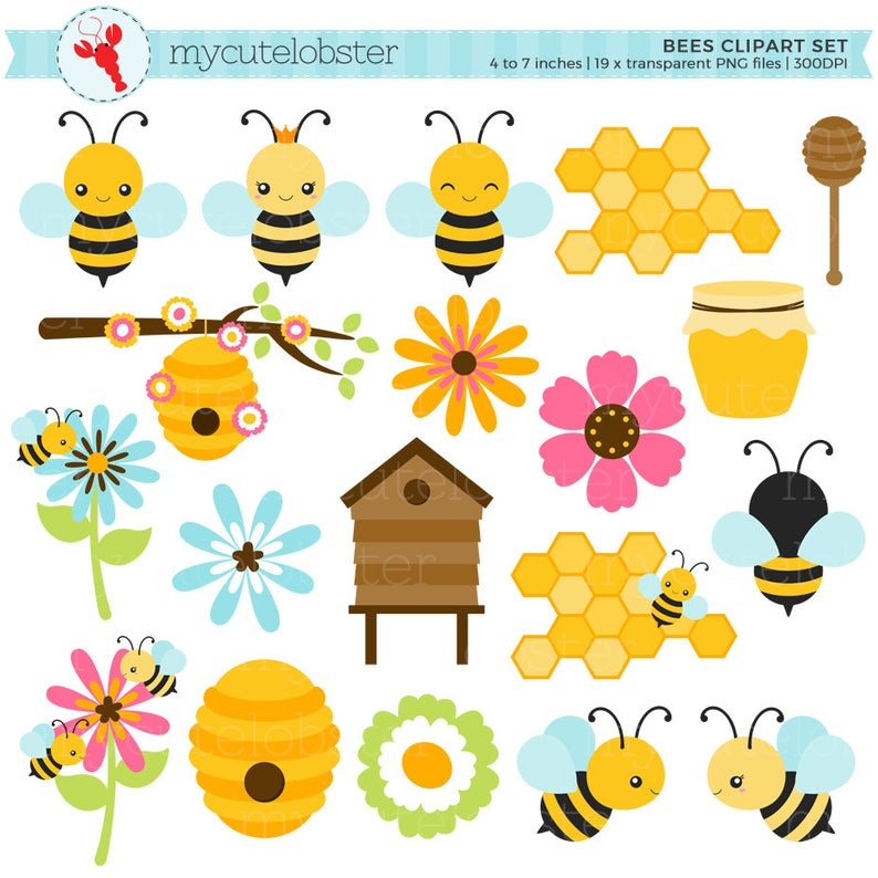 Bees Clipart Set.