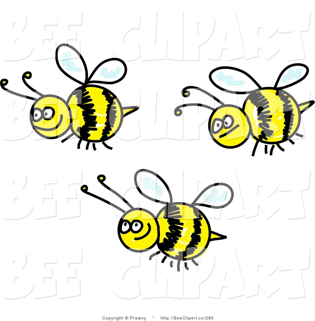 Clip Art of Three Happy Bees by Prawny.