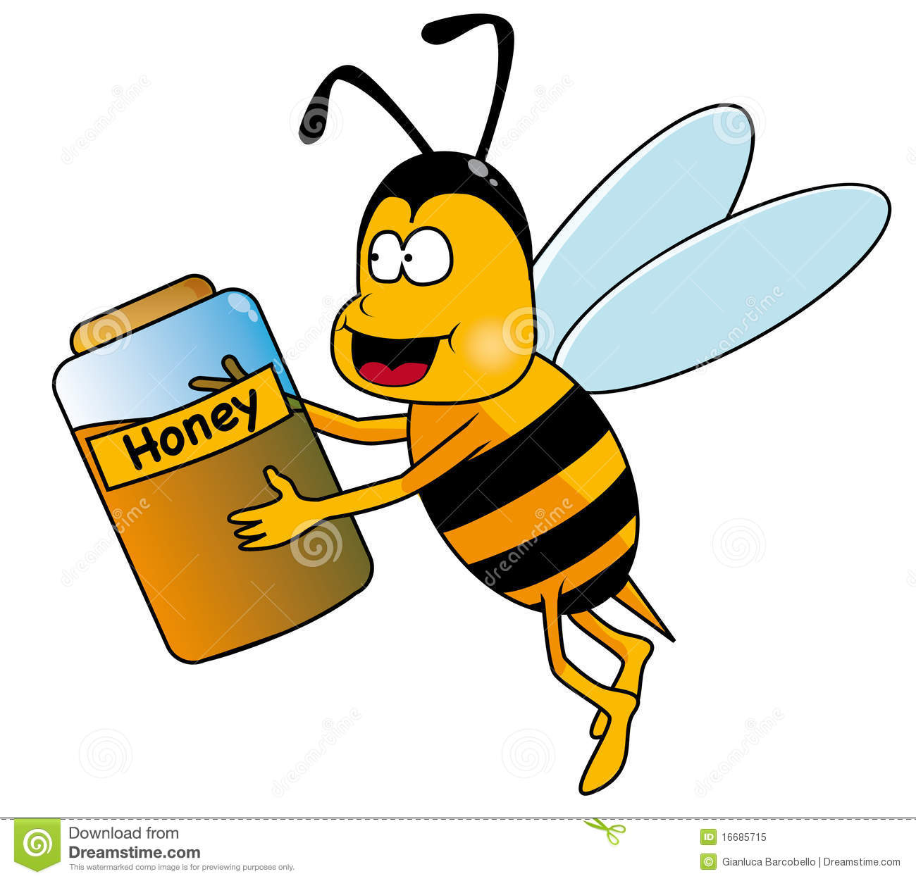 Bee with honey pot stock vector. Illustration of clip.