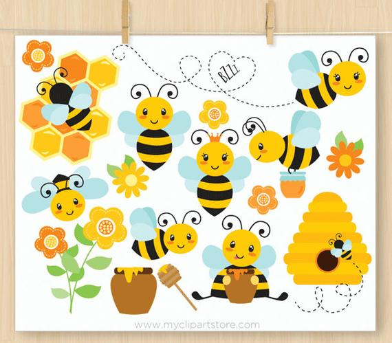 Buzzy Bumble Bees Clipart, Cute bee, Honey Comb, Bee Hive, Spring flowers,  honey pot, summer, Commercial Use, Vector clip art, SVG Files.